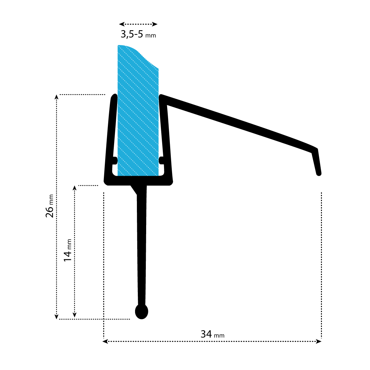 STEIGNER 190 cm Junta Repuesto Para el Vidrio 5mm//6mm Junta Vierteaguas de Ducha UK16 Protecci/ón Chorros Mamparas Ducha