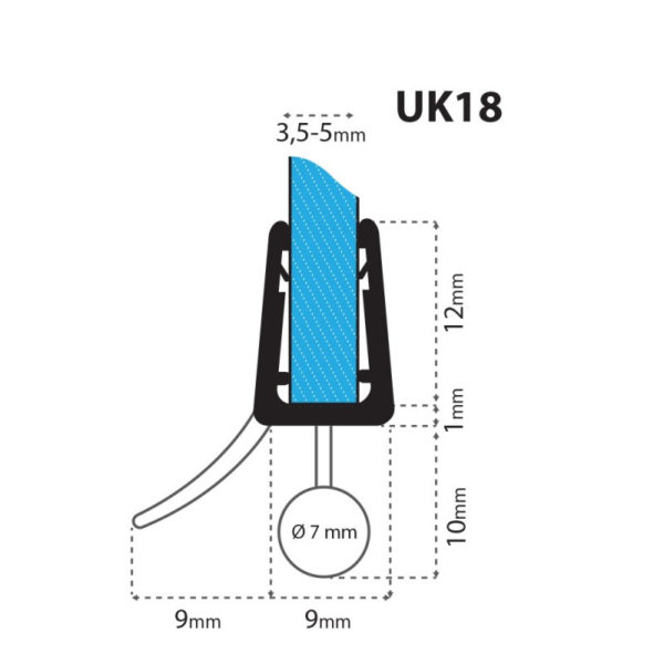 Junta para cabina de ducha curvada uk18 para vidrio de 3 5 for Instalacion cabina ducha