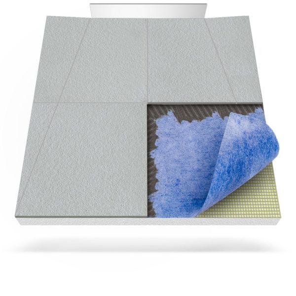 Steigner Plato de ducha con membrana impermeabilizante para desagüe en pared