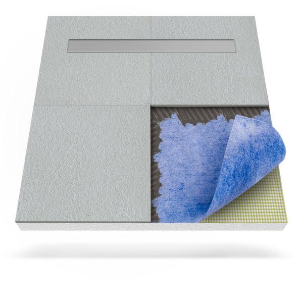 Steigner Plato de ducha con membrana impermeabilizante y desagüe lineal