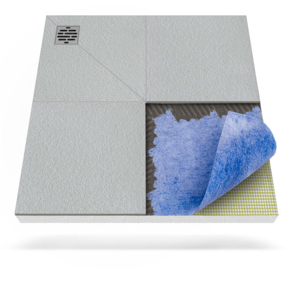 Steigner Plato de ducha con membrana impermeabilizante y desagüe puntual descentralizado