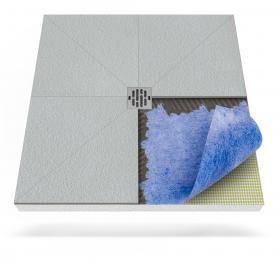 Plato de ducha con membrana impermeabilizante y desagüe puntual