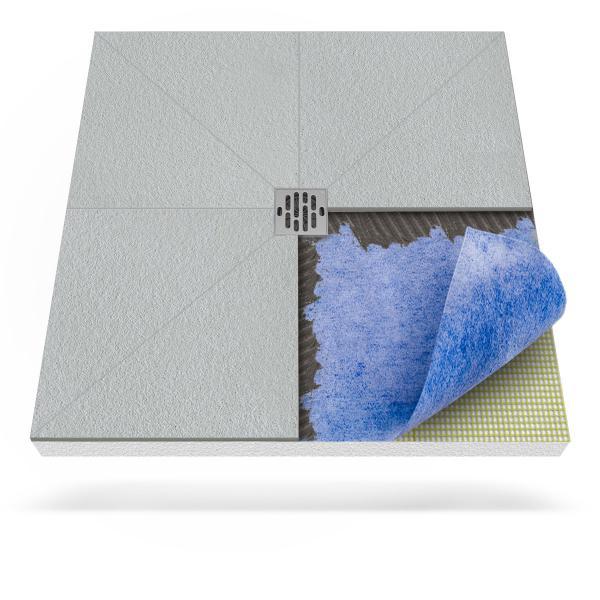 Steigner Plato de ducha con membrana impermeabilizante y desagüe puntual