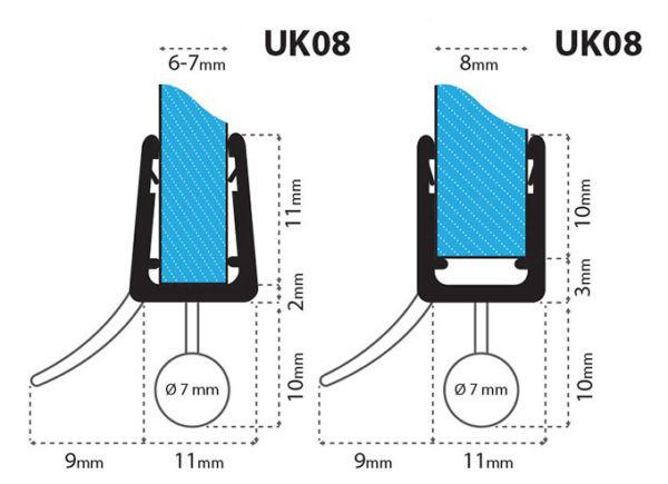 Junta para cabina de ducha curvada uk08 para vidrio de 6 8 for Instalacion cabina ducha